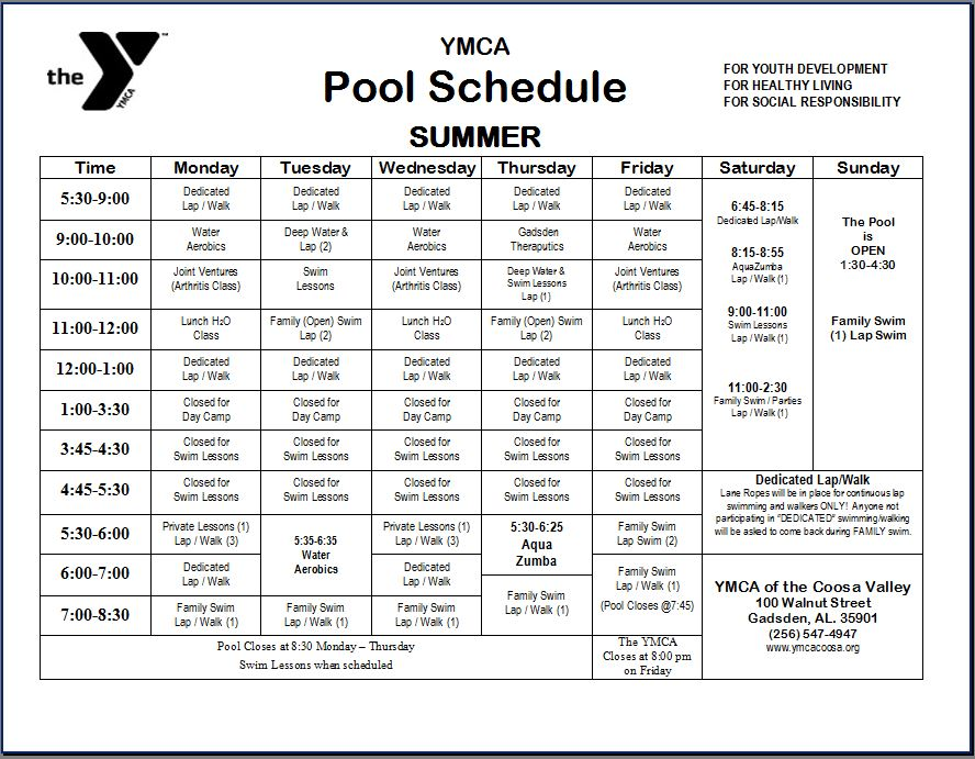 Ymca Swimming Lessons Schedule